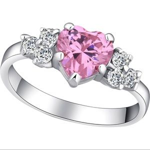 Pink CZ Heart Ring